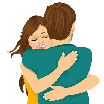 attractive young hispanic woman hugging her man with tender love and passion