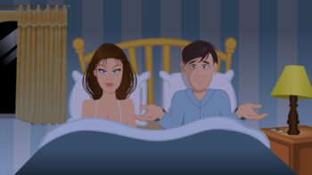 cartoon vector illustration of a couple bedroom frustration
